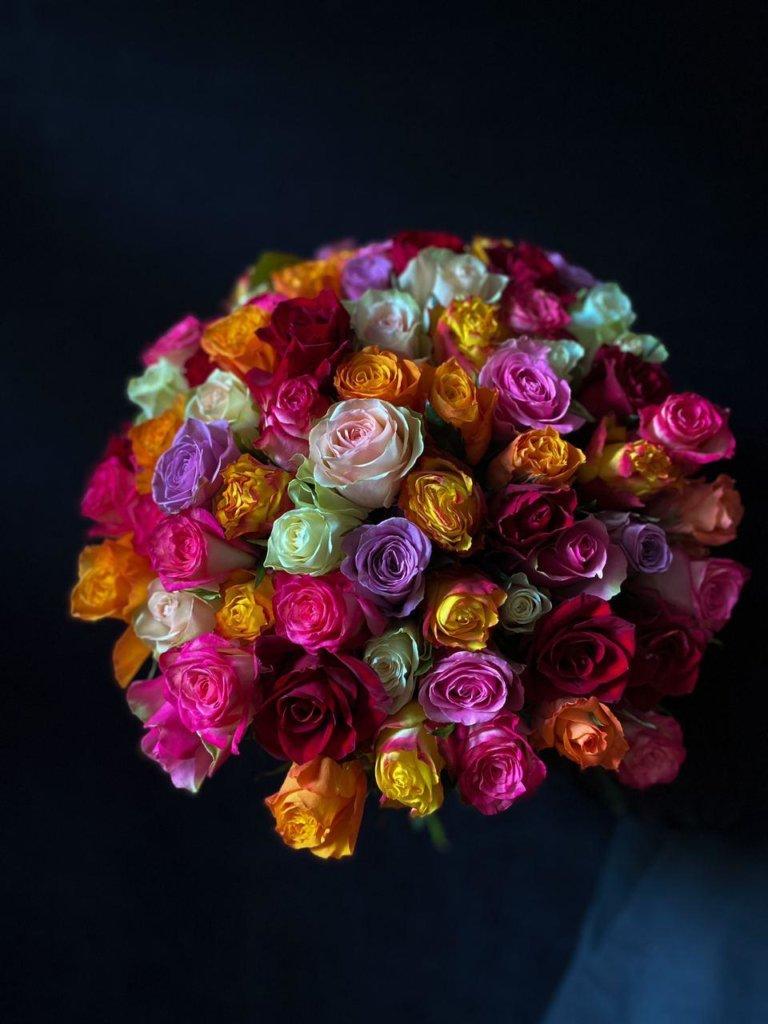 Разноцветные розы 50 см (Кения)