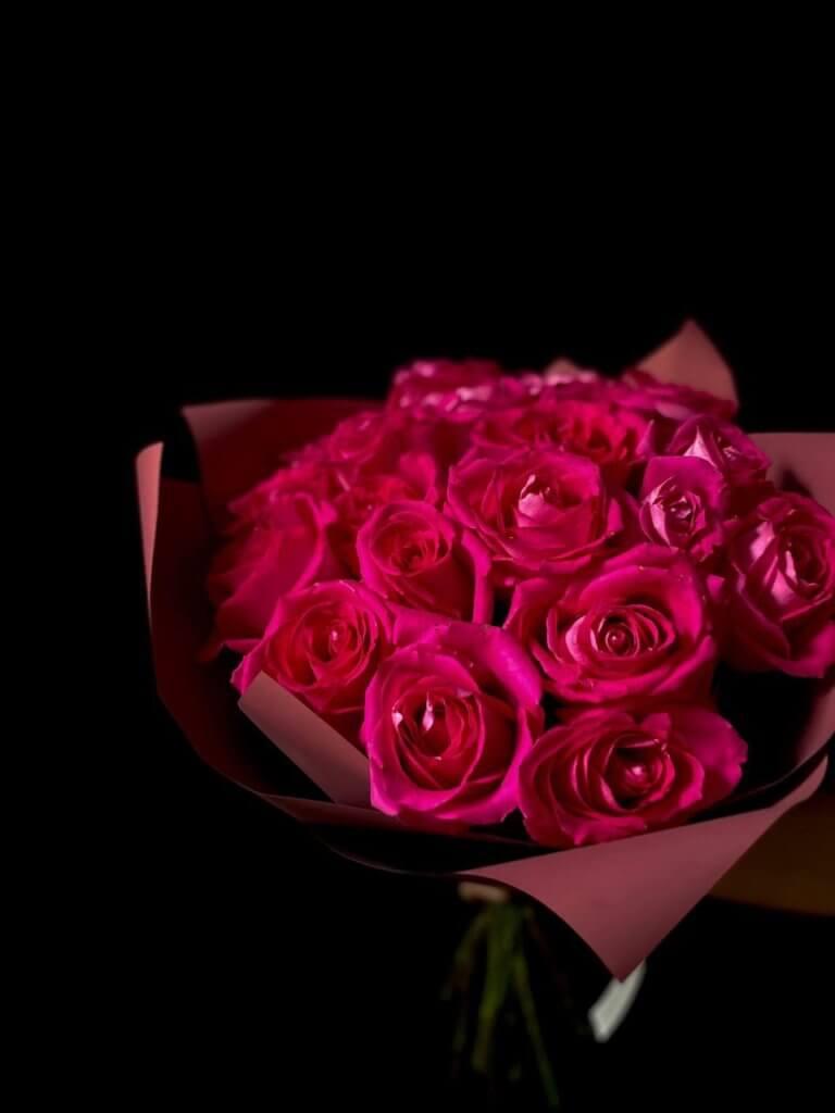 Розовые розы 60 см
