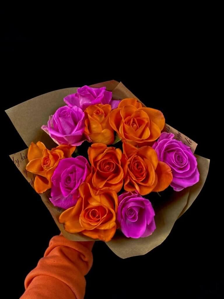 Разноцветные розы 40 см (Кения)