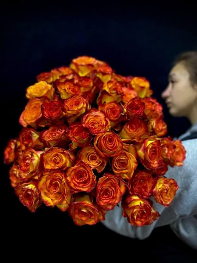 Огненные розы ПРЕМИУМ 50 см